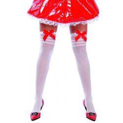 Paire de bas blanc avec noeud rouge Accessoires de fête 16555