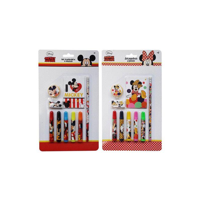 Set de papeterie 9 pièces Mickey ou Minnie Jouets et articles kermesse WA2055074