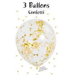Sachet 3 ballons latex transparent 28 cm avec confettis - Déco festive 36420