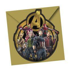 Déco festive, Cartes invitation anniversaire Avengers Infinity War™ x 6, LAVE89483, 3,20€