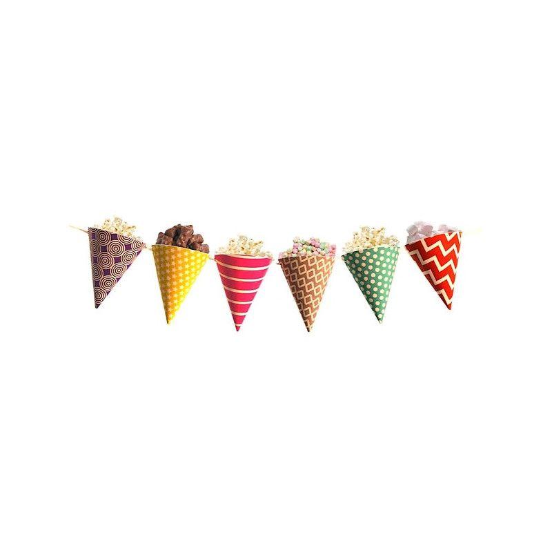 Guirlande cornets papier multicolores 2 m Déco festive 04047MU