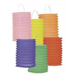 Déco festive, Lot 12 lampions cylindriques 16 cm coloris assortis, 14004, 6,90€