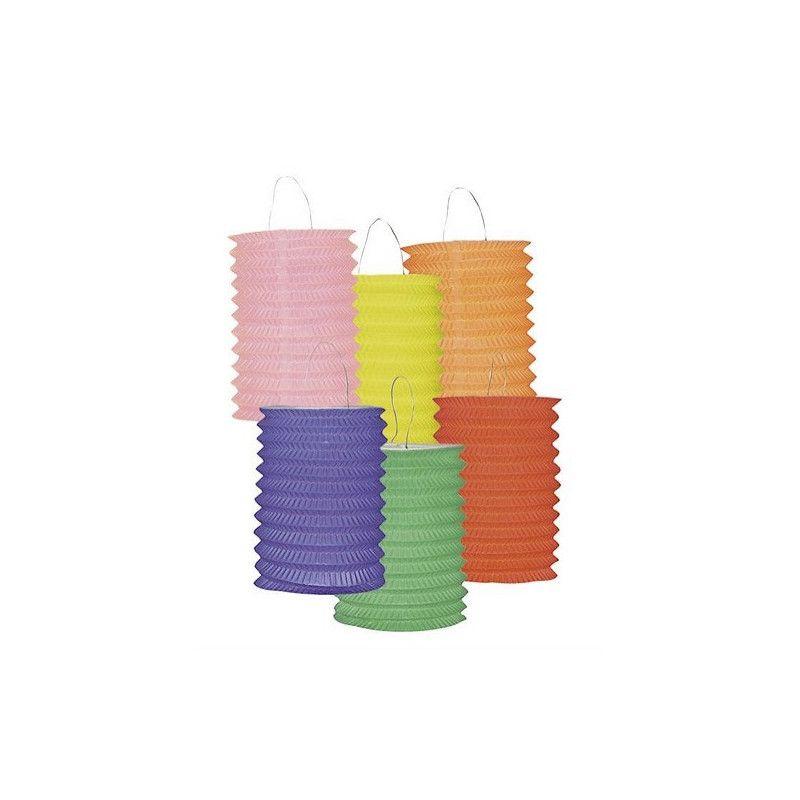 Lot 12 lampions cylindriques 16 cm coloris assortis Déco festive 14004