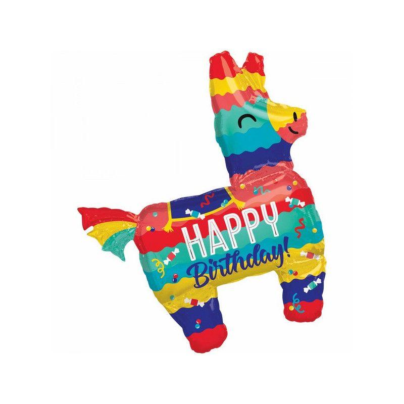 Ballon aluminium Lama Happy Birthday 73 x 83 cm Déco festive 3798601