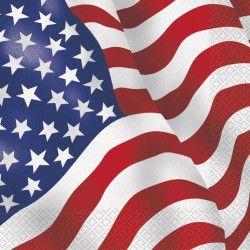 Serviettes papier drapeau USA x 16 Déco festive U43742