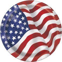 Assiettes carton drapeau USA 23 cm x 8 Déco festive U43745