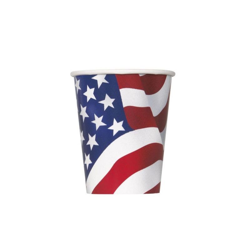 Gobelets drapeau USA 27 cl x 8 Déco festive U43746