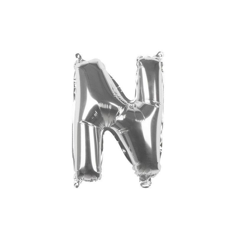 Ballon aluminium argent 36 cm lettre N Déco festive 22113