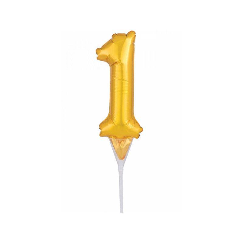 Ballon aluminium pique gâteau or 15 cm - chiffre 1 Déco festive 3703301