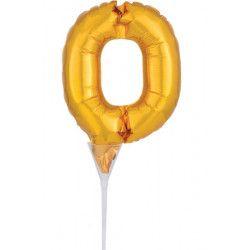Ballon aluminium pique gâteau or 15 cm - chiffre 0 Déco festive 3734901