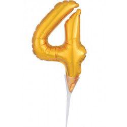 Déco festive, Ballon aluminium pique gâteau or 15 cm - chiffre 4, 3735201, 1,90€