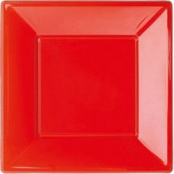 Assiettes plastiques rouges 23x23 cm Déco festive 16662-
