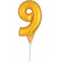 Déco festive, Ballon aluminium pique gâteau or 15 cm - chiffre 9, 3735701, 1,90€