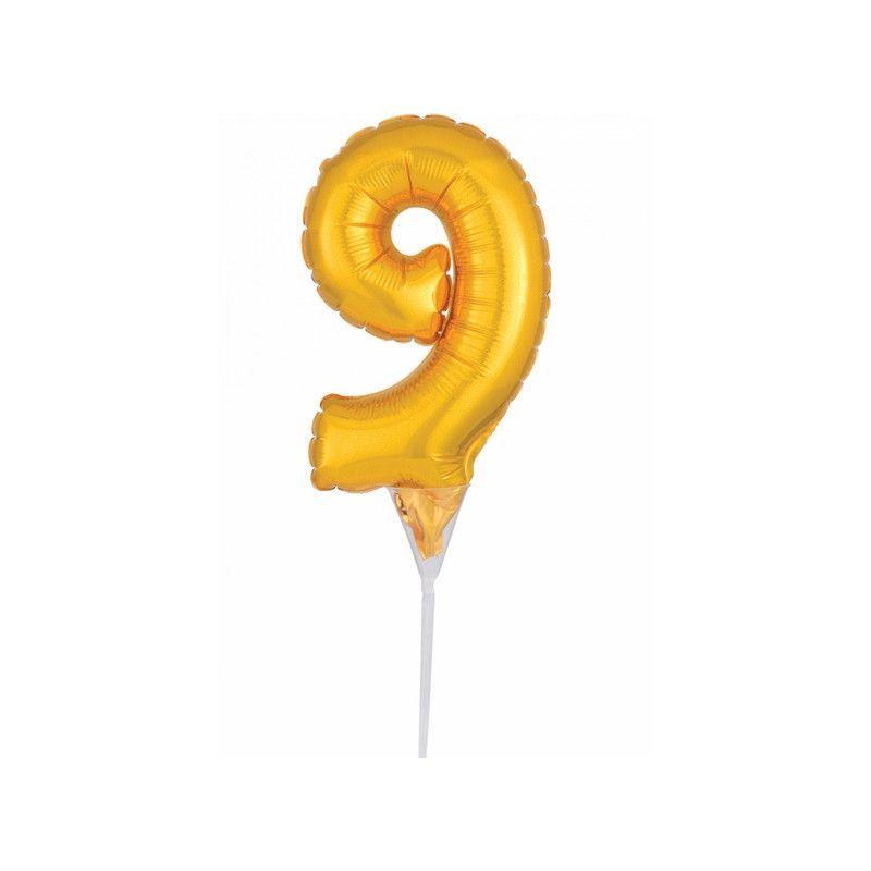Ballon aluminium pique gâteau or 15 cm - chiffre 9 Déco festive 3735701