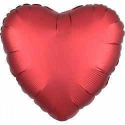 Ballon métallisé satin luxe sangria coeur 43 cm Déco festive 3858401