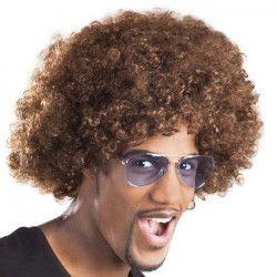 Accessoires de fête, Perruque afro châtain adulte, 86014, 6,90€