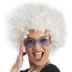 Perruque afro blanche adulte Accessoires de fête 86016