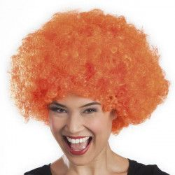 Accessoires de fête, Perruque afro orange adulte, 86022, 6,90€