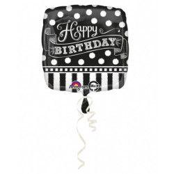 Ballon alumininium carré noir et blanc Happy Birthday 43 cm Déco festive 3092701