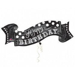 Ballon aluminium géant noir et blanc Happy Birthday 101 cm Déco festive 3093101