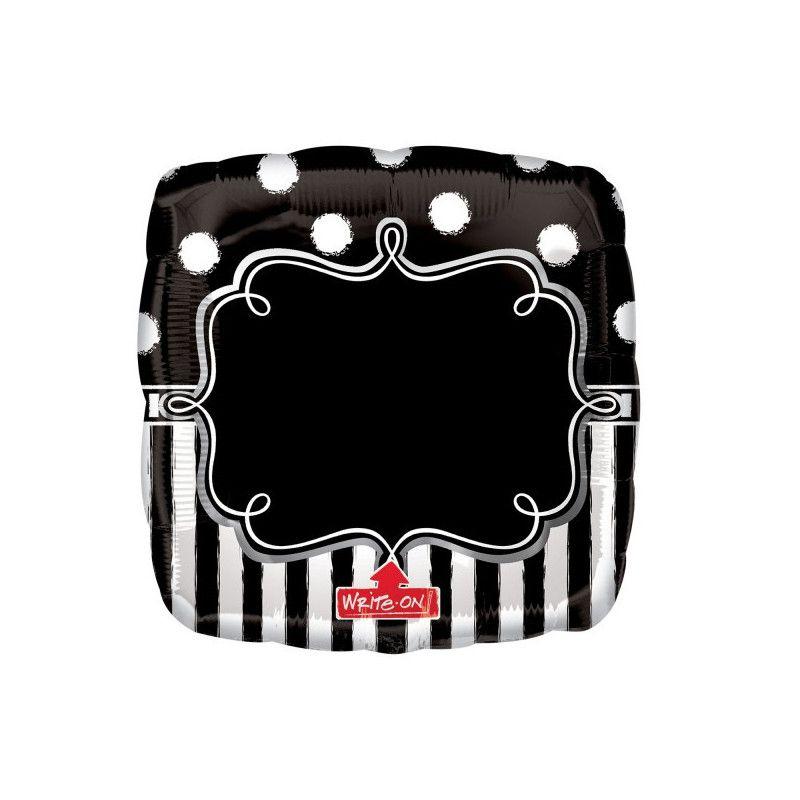 Ballon aluminium Chalkboard personnalisable noir et blanc 71 cm Déco festive 3445301