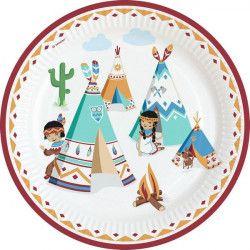 Assiettes jetables x 8 Tipi indien 23 cm Déco festive 9904132