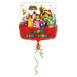 Ballon aluminium carré Mario Bros™ Happy Birthday 63 cm Déco festive 3200901