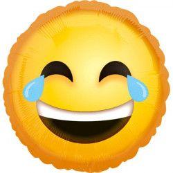Ballon aluminium rond Emoticone fou rire 43 cm Déco festive 3530001