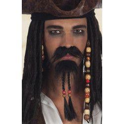 Moustache et barbichette noires pirate adulte Accessoires de fête 01811