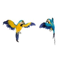 Perroquet décoratif jaune et bleu 33 cm Déco festive 80652CHAKS