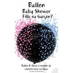 Ballon latex et 2 sachets de confettis roses ou bleus Déco festive 36454