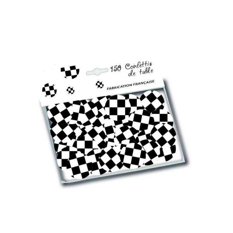 Sachet 150 confettis de table drapeau à damier Déco festive D30002