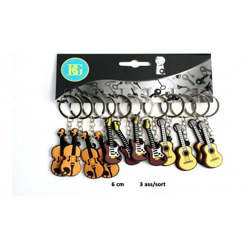 Lot 12 porte-clés guitare 6 cm Porte-clés kermesse  18316-LOT