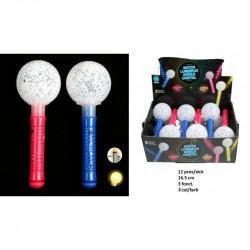 Bâton avec boule cristal lumineuse 16.5 cm vendu par 12 Jouets kermesse mixtes 15049-LOT