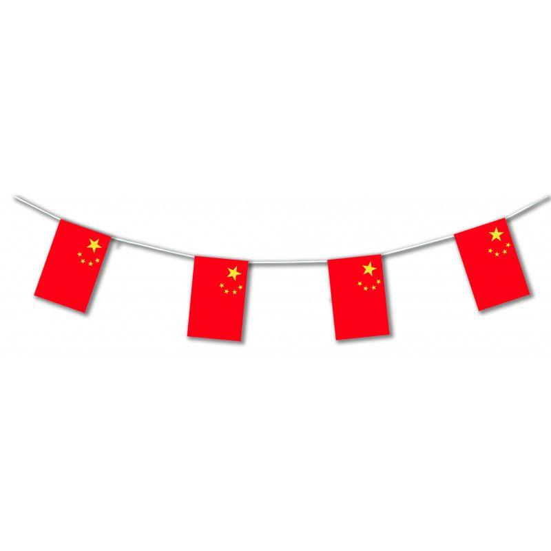 Guirlande plastique drapeau Chine 10 m Déco festive 204003SC