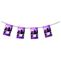 Guirlande papier ignifugé thème disco violet 4 m Déco festive 420514