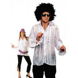Chemise disco à jabot blanche adulte Déguisements 8653167