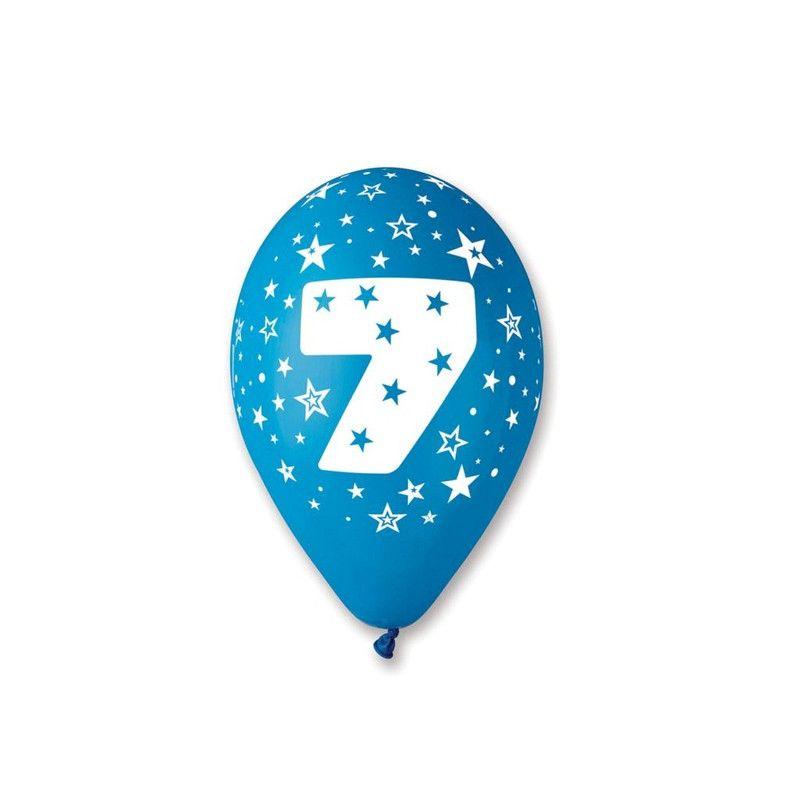 Déco festive, Sachet 10 ballons pastel multicolores 30 cm chiffre 7, BA19957, 3,90€