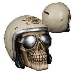 Déco festive, Tirelire polyrésine tête de mort avec lunettes, 785735, 12,90€