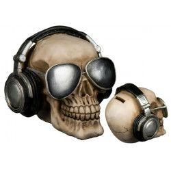 Déco festive, Tirelire polyrésine crâne de squelette avec lunettes et écouteurs, 785736, 12,90€