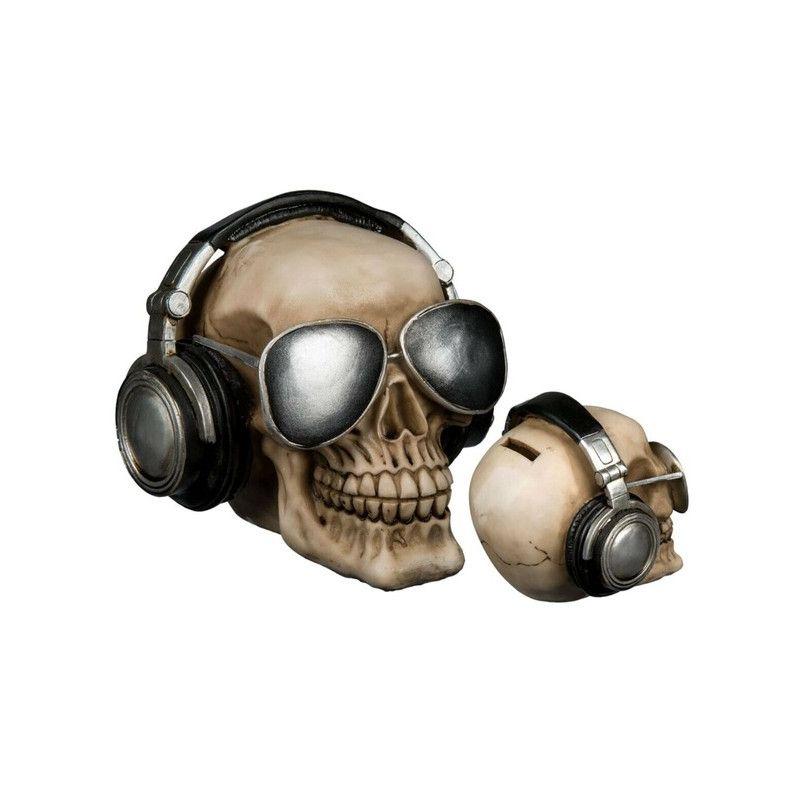Tirelire polyrésine crâne de squelette avec lunettes et écouteurs Déco festive 785736