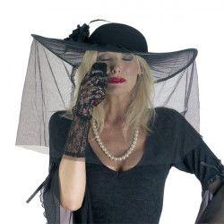 Chapeau noir de veuve épleurée Accessoires de fête 74079