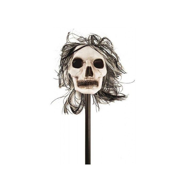 Tête de squelette blanche sur bâton Déco festive 72075