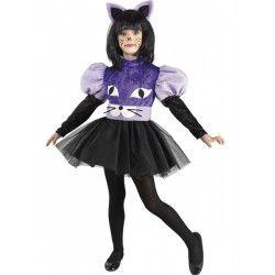 Déguisements, Déguisement chat noir et violet fille, 056-, 19,90€
