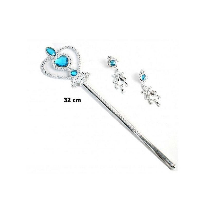 Sceptre princesse 32 cm et boucles d'oreilles Accessoires de fête 33098