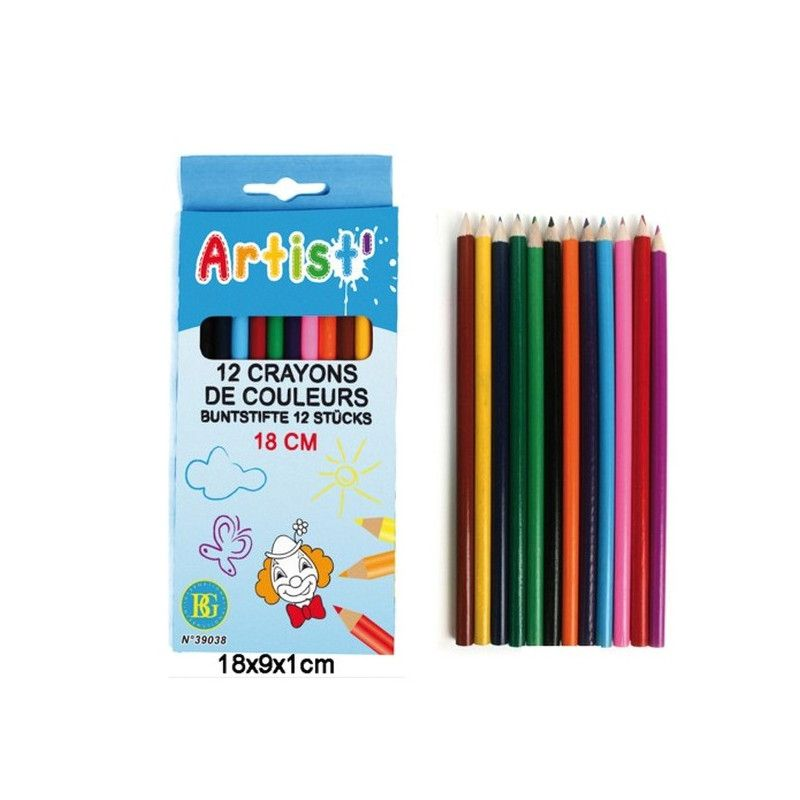 Paquet de 12 crayons de couleurs vendu par 12 Jouets et articles kermesse 39038-LOT