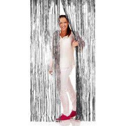 Déco festive, Rideau de porte lamelles métallisées 2 m argent, 09207, 6,80€