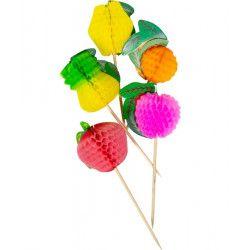 Pics à fruit alvéolés multicolores 10 cm Confiserie 20627