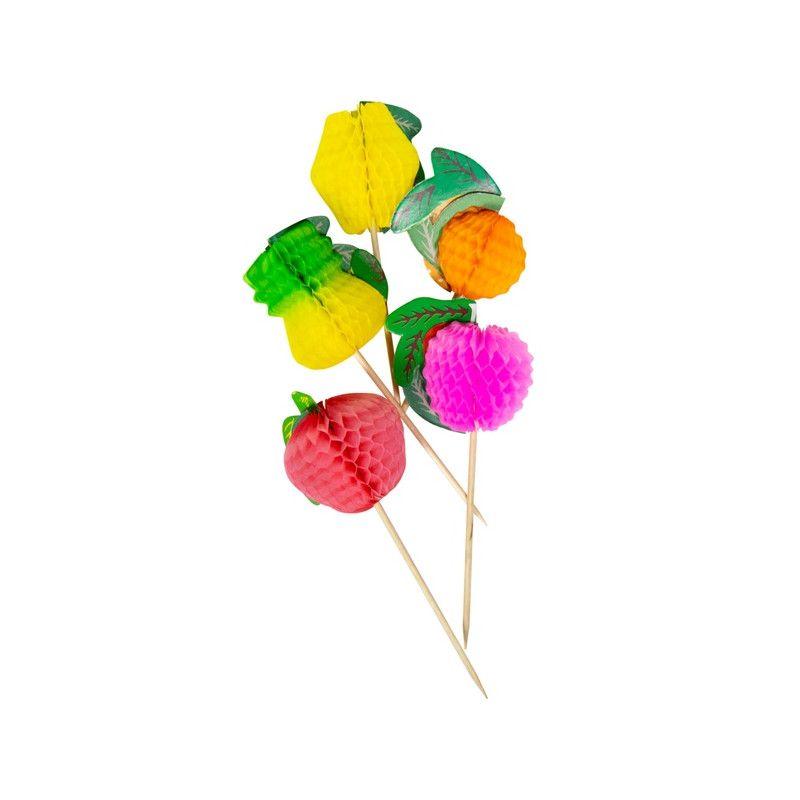 Pics à fruit alvéolés multicolores 10 cm Cake Design 20627