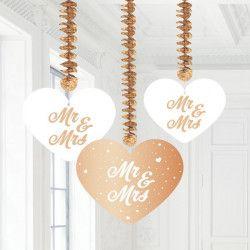 Décoration 3 suspensions coeurs Mr et Mrs à suspendre Déco festive 21422